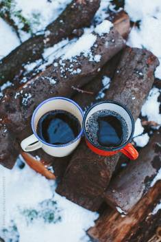 coffee for two out in snow