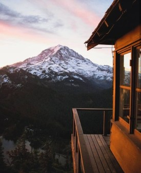 deck view of snow top mountain