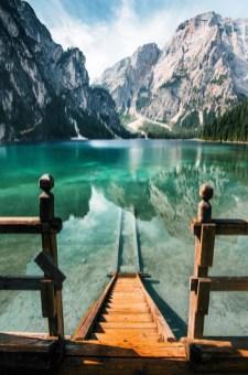 stairs down to mountain lake
