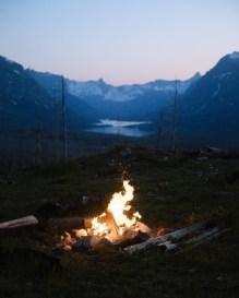bonfire at night by a lake