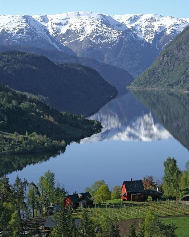 farm lake and mountains