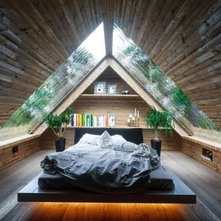giant a frame skylights above bed