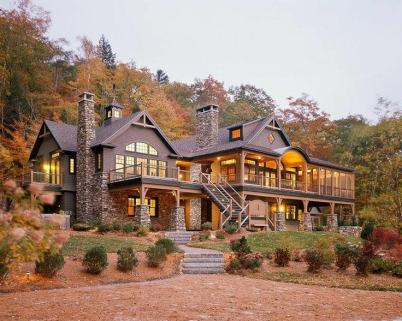 large stone and wood home