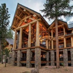massive log and stone cabin