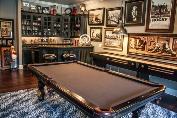 old school home bar with pool table