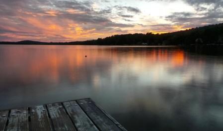 quiet lake at sunrise