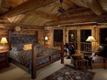 rustic and manly log home bedroom