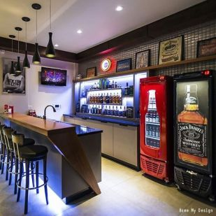 well stocked man cave bar