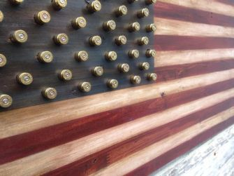 wood and bullet casing american flag art