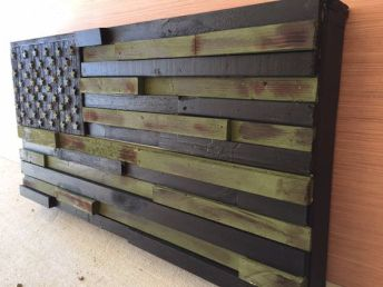 wooden usa flag