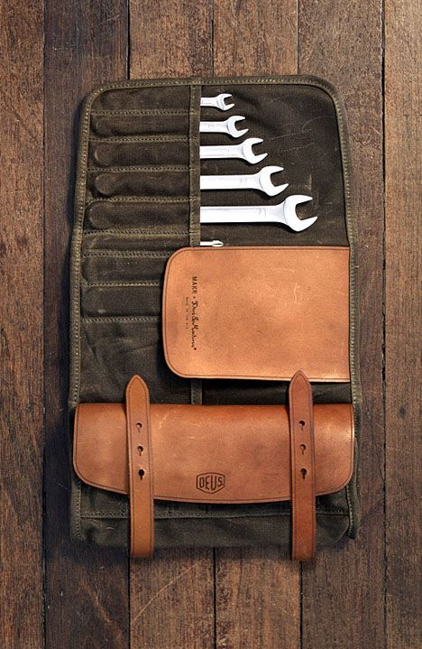 wrenches in leather carry case