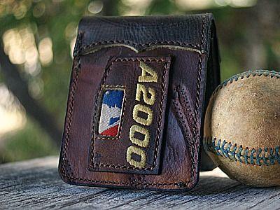 wallet made of baseball glove