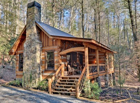 cabin with stone chimney