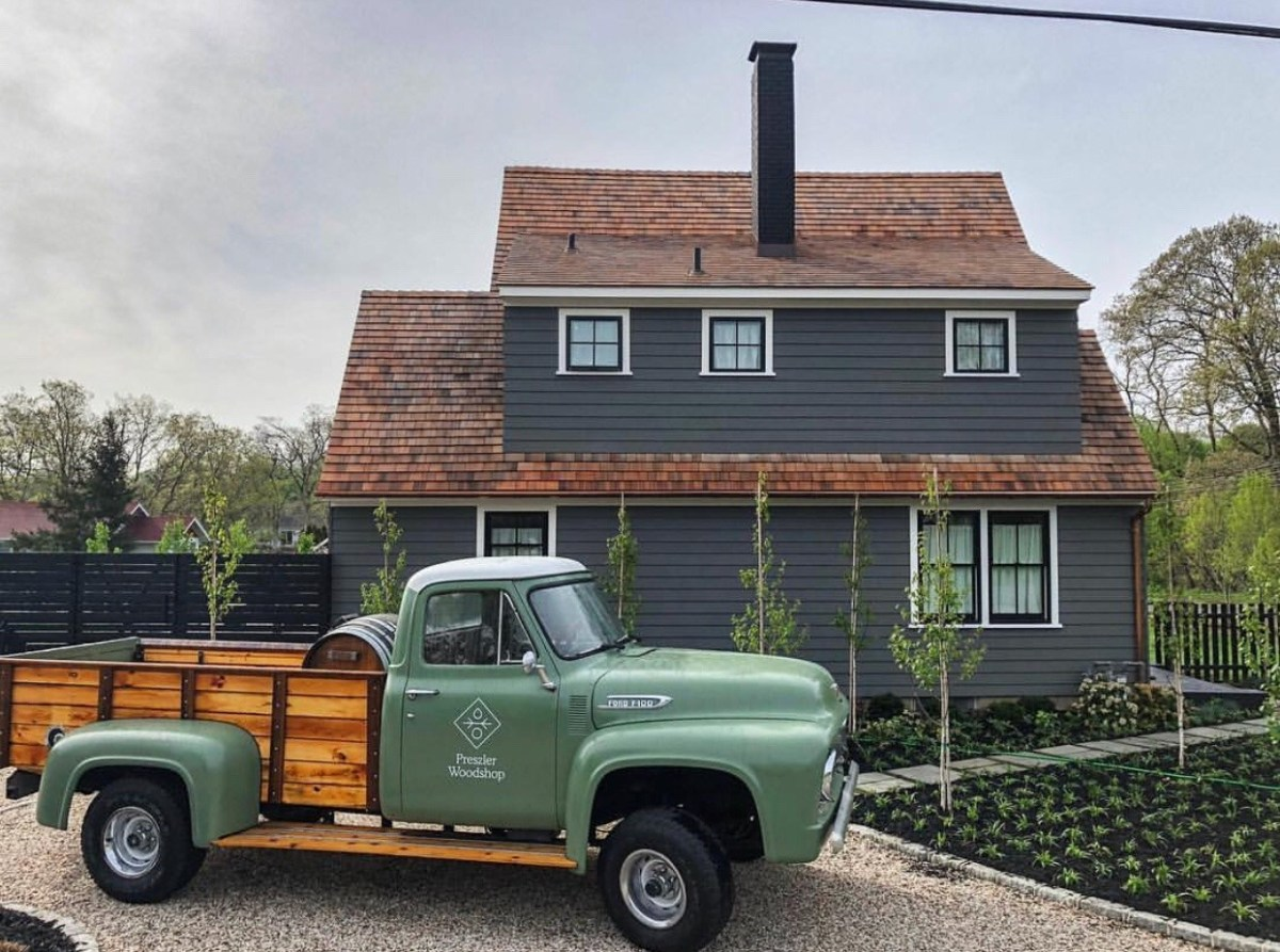 old green delivery truck
