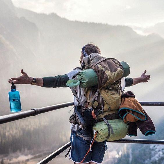 hiker enjoying victory
