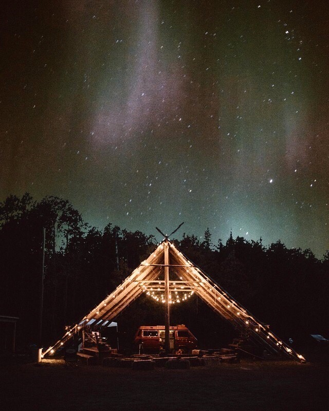 large tent at night