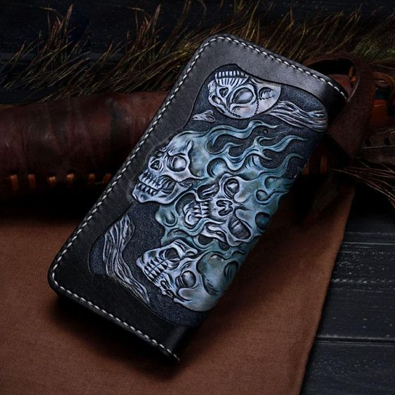 Handmade Leather Skull Tooled Long Mens Chain Biker Wallet