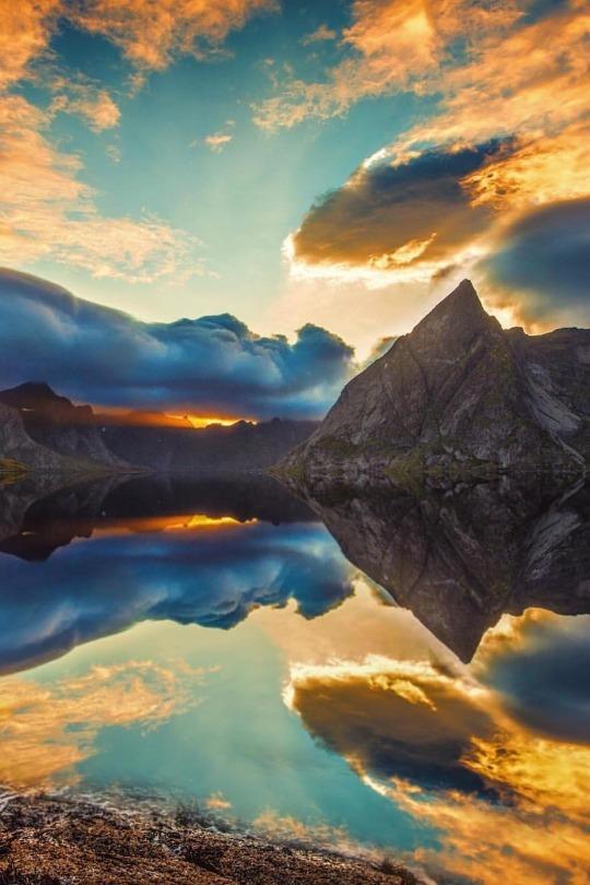 reflection off mountain lake