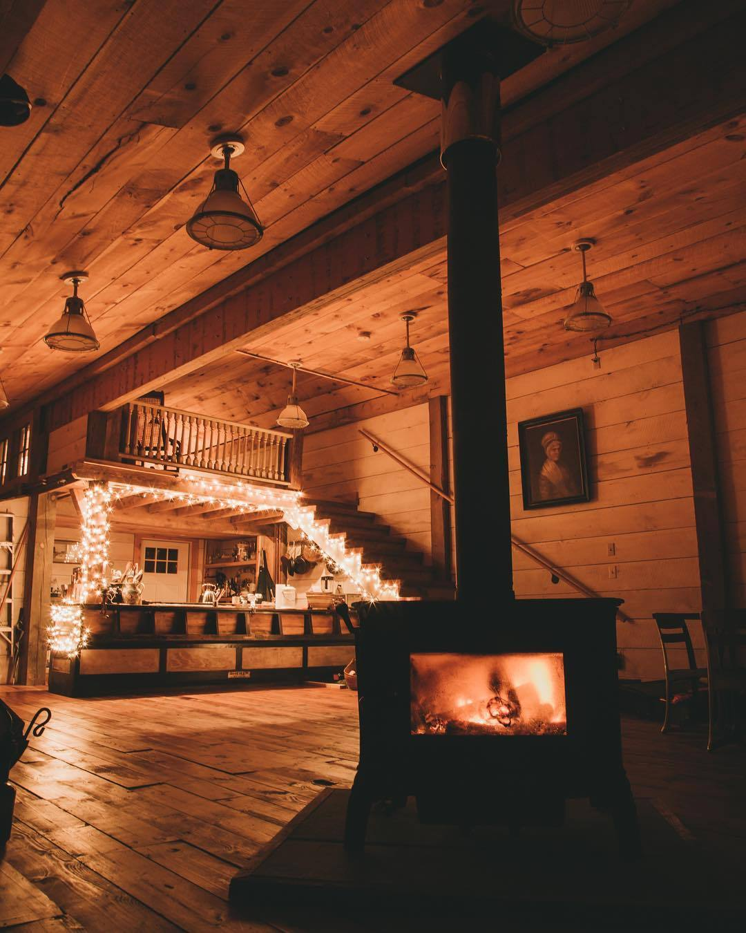 cozy night by the wood burning stove