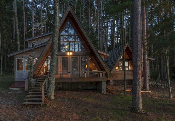 cozy cabin tucked into the woods