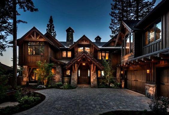 dark wood and stone home