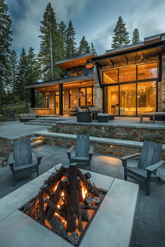 modern rustic home with firepit