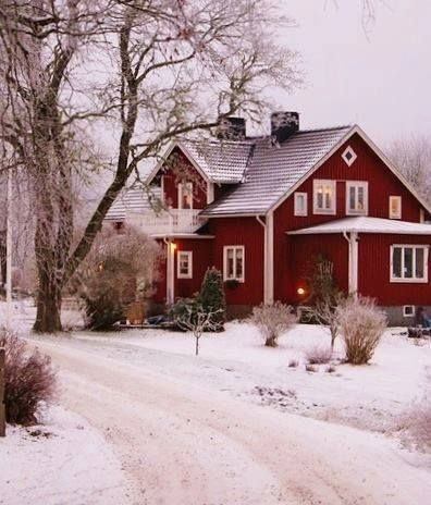 red home with snow