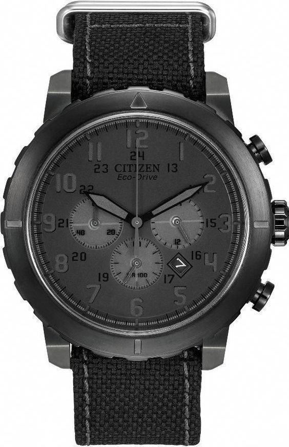 Citizen Eco-Drive Military Chronograph All Black Nylon Mens Watch