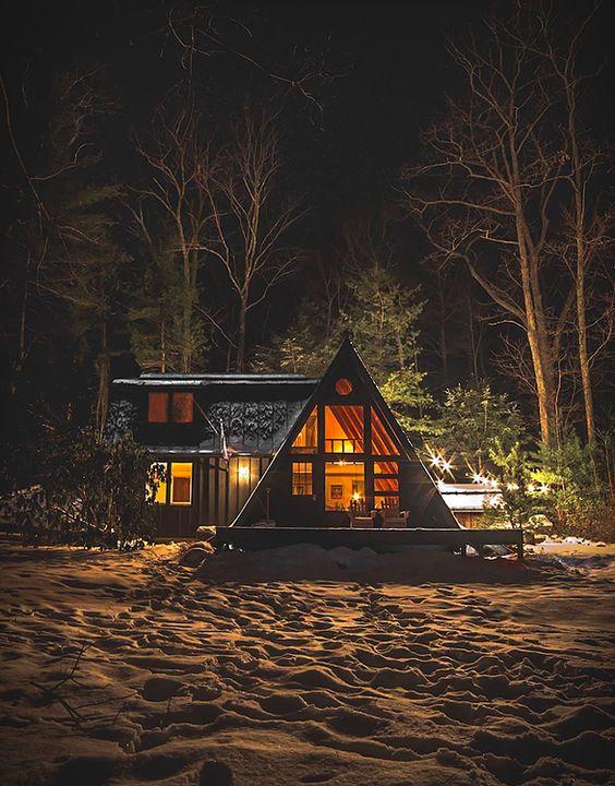 cabin night snow