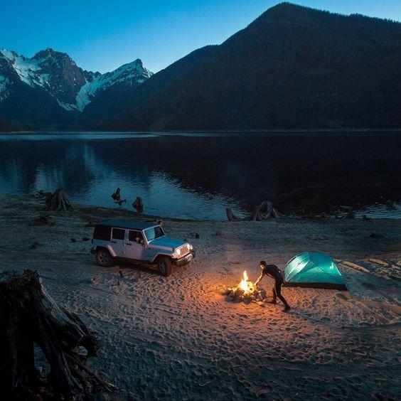 campsite near mountain lake