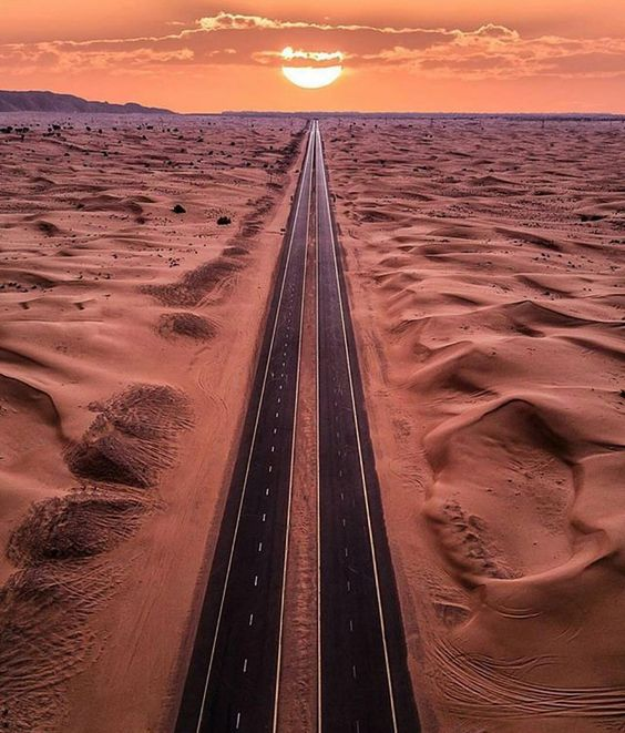 long road through desert