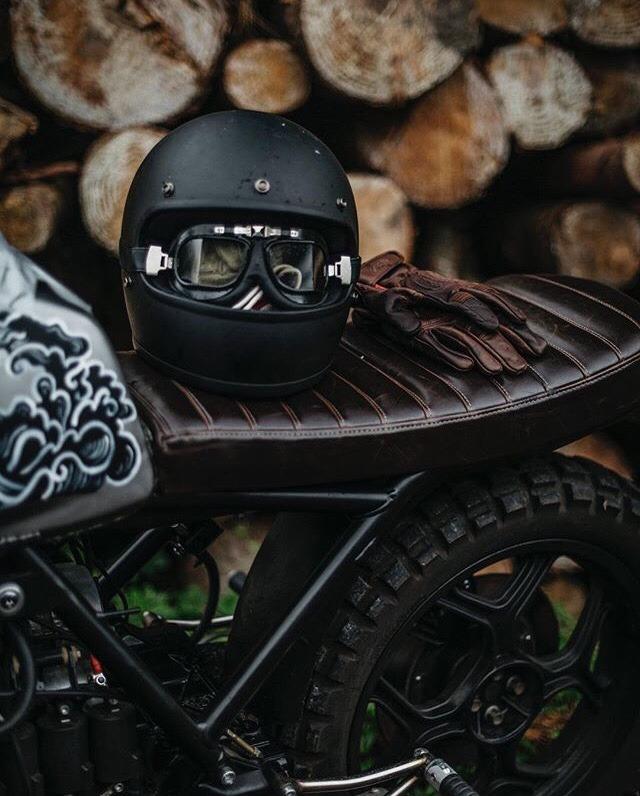 motorcycle helmet on a motorcycle