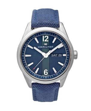 Limited Edition Hamilton Mens Swiss Broadway Blue Fabric Strap Watch 40mm