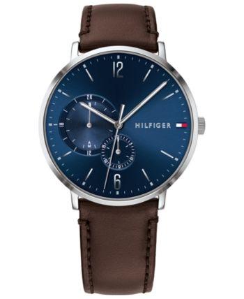 Tommy Hilfiger Men Brown Leather Strap Watch 43mm