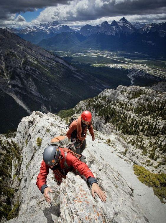 two men summiting