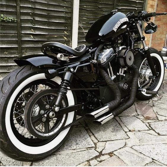 Harley Davidson motorcycle with white wall tires
