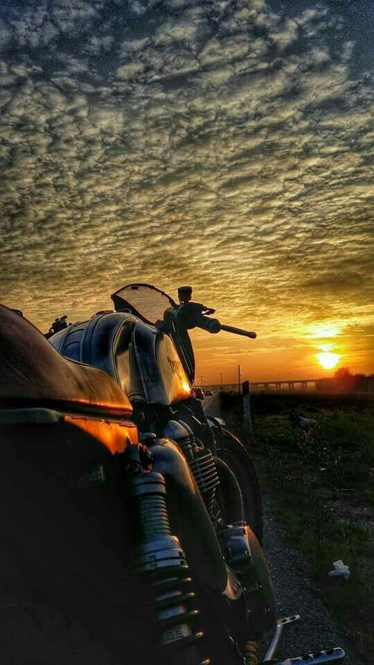 motorcycle and sunset