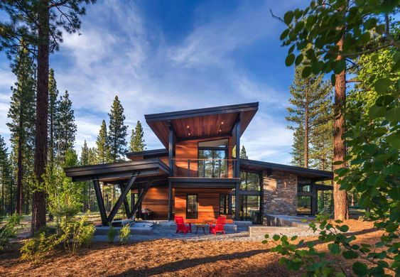 mountain home secluded in pine forest