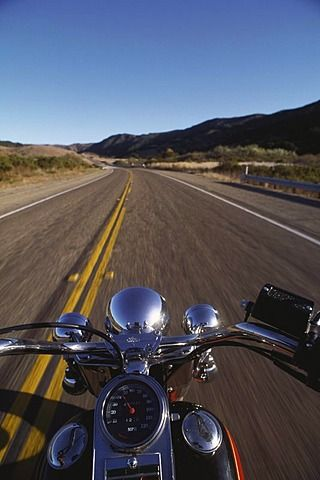 open road view from motorcycle