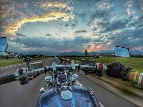 motorcycle ride with stunning sky