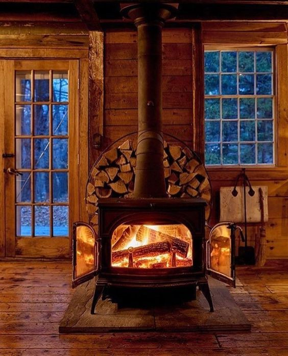 wood burning stove in cabin