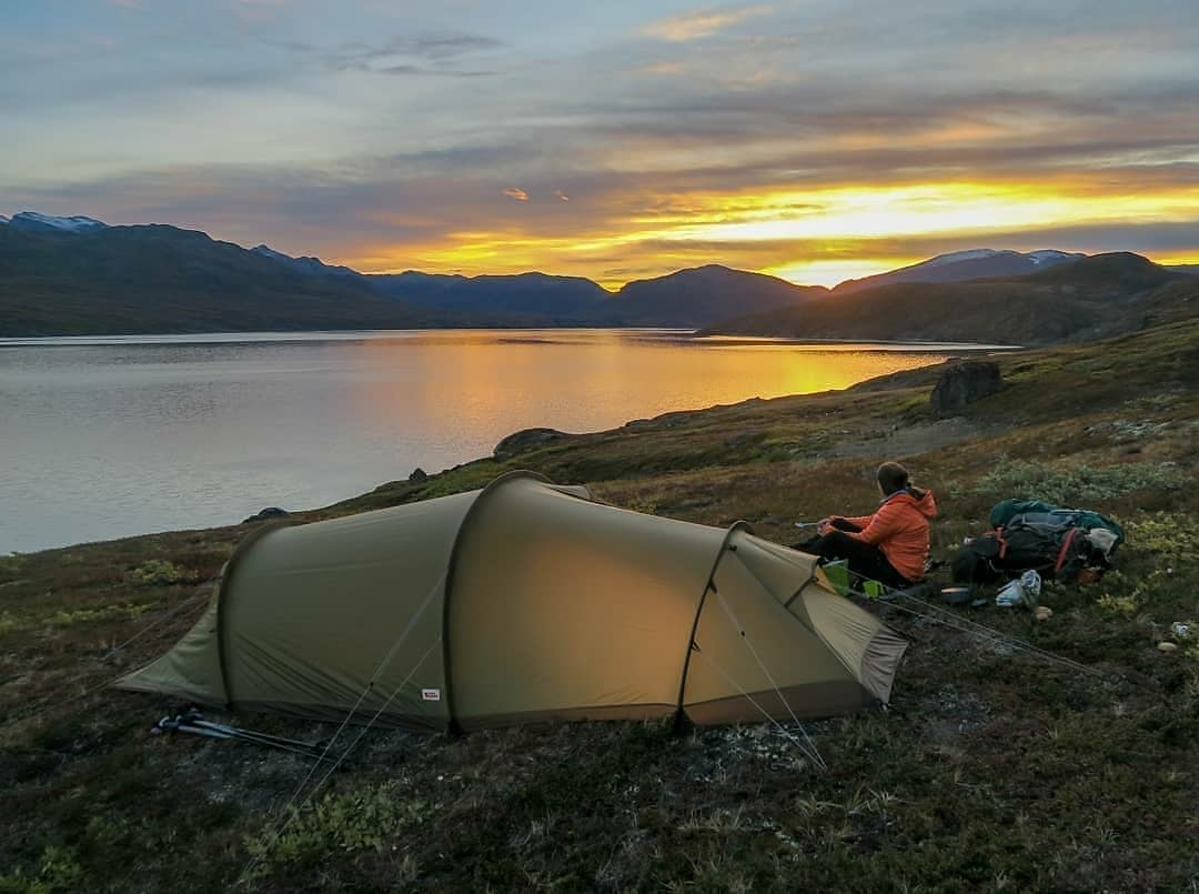 tent and sunset
