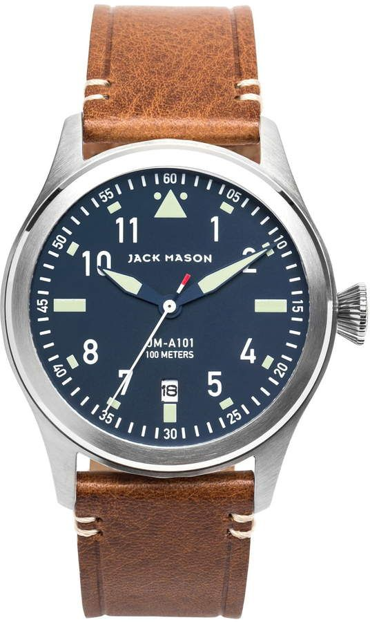 Jack Mason Aviation Leather Strap Mens Watch
