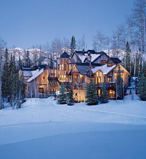 large home in the snow