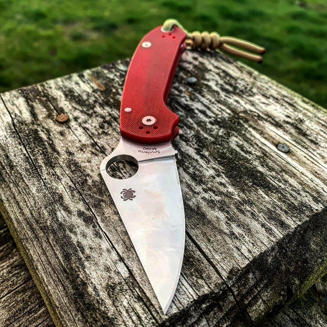 red spyderco knife