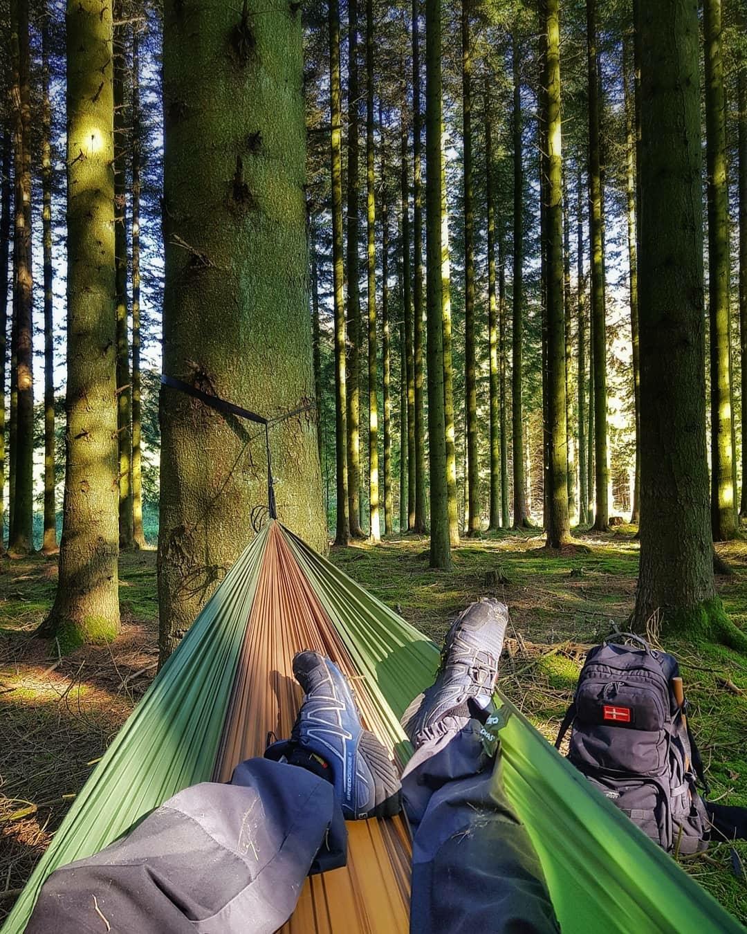 man relaxing on hammock in forest
