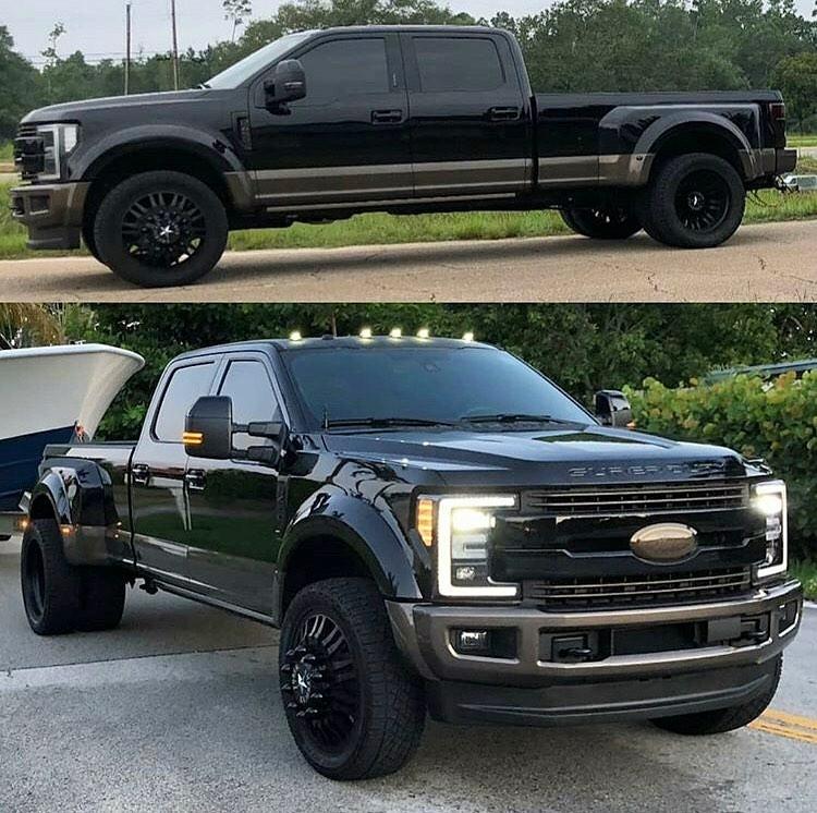big black ford super duty dually