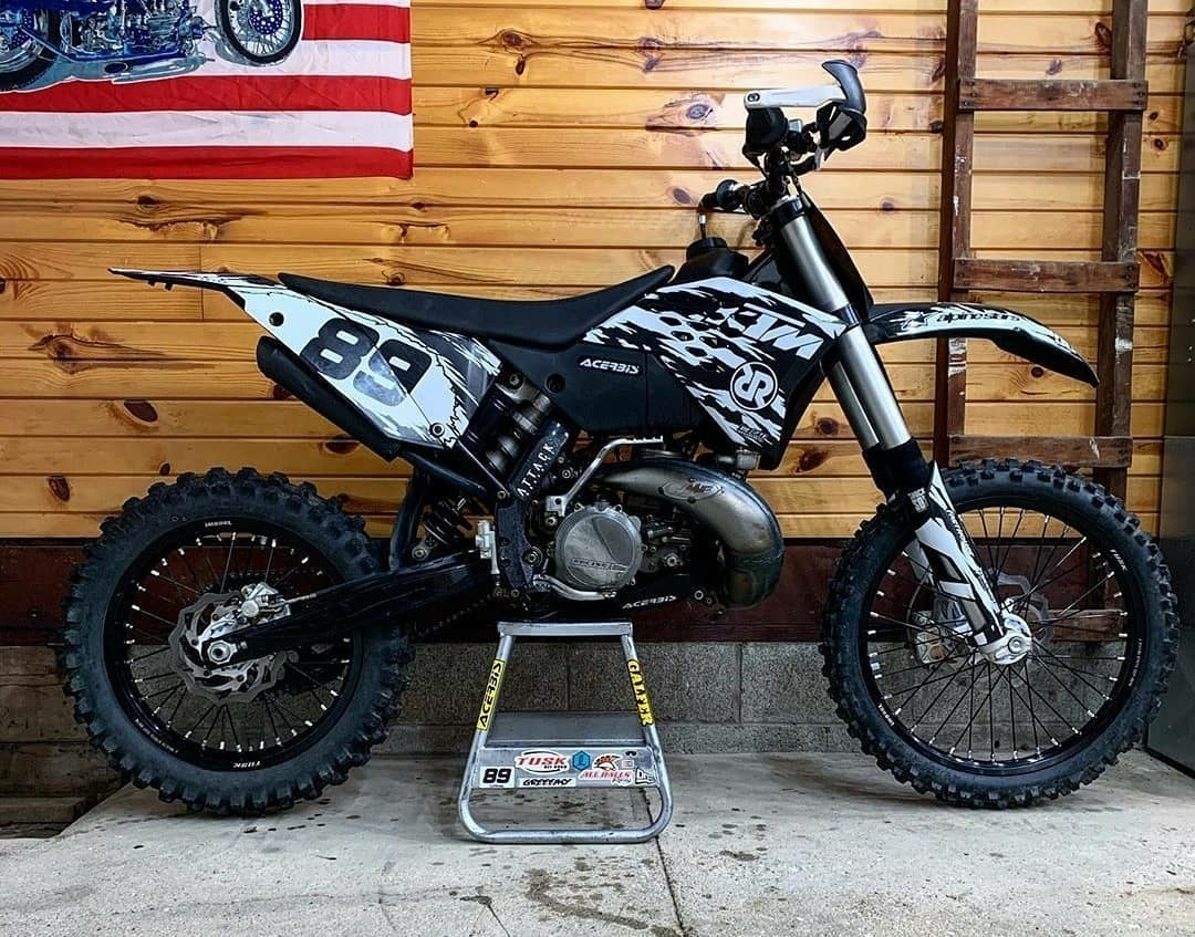 custom black and white ktm motorcycle
