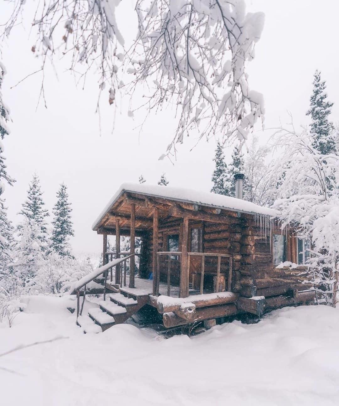 snowy cabin scene