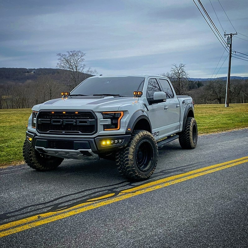 white ford raptor on road